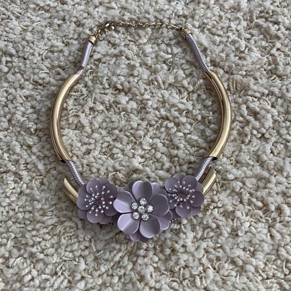 Purple floral statement necklace